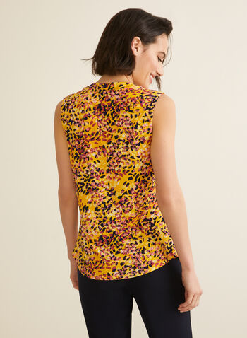 Flower Petal Print Top, Yellow,  top, blouse, sleeveless, flower petal, print, motif, jacquard, stretchy, spring summer 2020