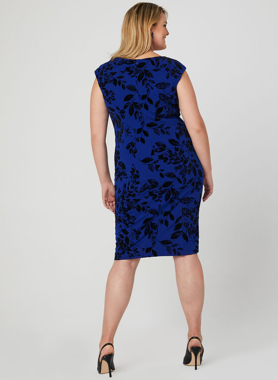Robe à fleurs en velours, Bleu, hi-res
