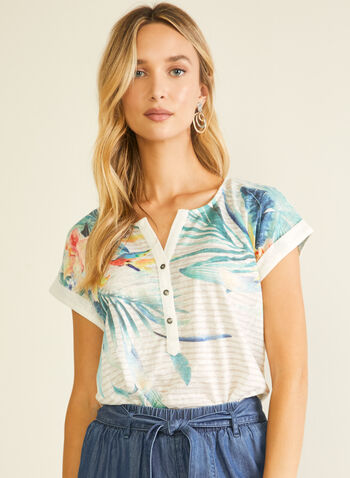 Tropical Print Linen Blend Tee, White,  t-shirt, short sleeves, henley, linen, tropical print, spring summer 2020