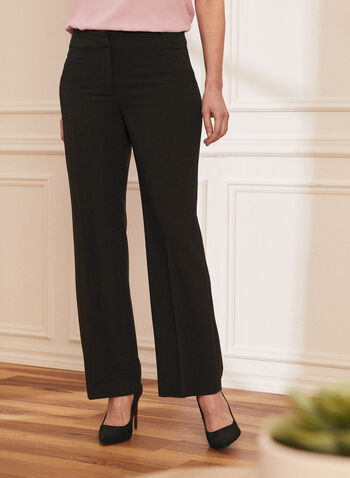 Louben - Pleated Straight Leg Pants, Black,  pants, straight leg, pleats, hook & bar, zip fly, spring summer 2021