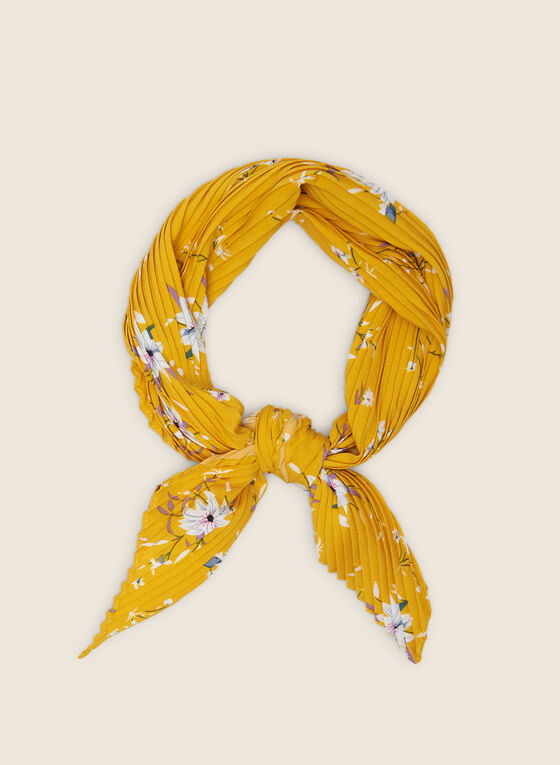 Pleated Floral Lightweight Scarf, Yellow
