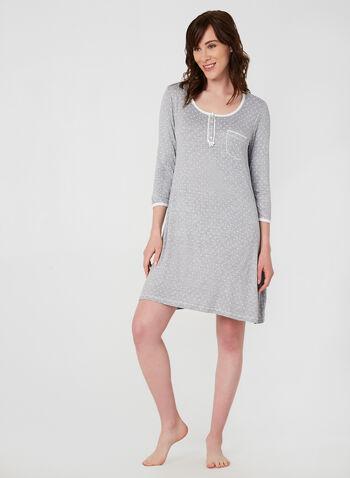 René Rofé - Polka Dot Nightgown, Black,  nightgown, 3/4 sleeves, fall 2019, winter 2019