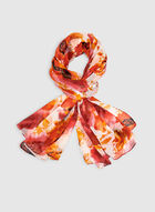 Floral Print Chiffon Scarf, Orange, hi-res