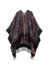Poncho style pashmina à motif cachemire et franges, Pourpre, hi-res