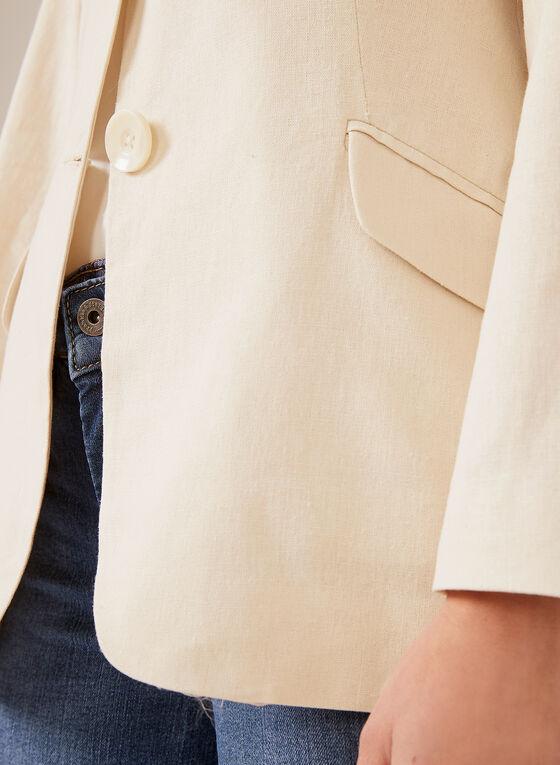Alison Sheri - Veste à col cranté en lin et coton, Brun, hi-res