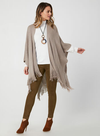 Echo New York - Fringed Pointelle Poncho, Off White,  fall winter 2019, knit, fringed hem, pointelle knit, pashmina, ruana