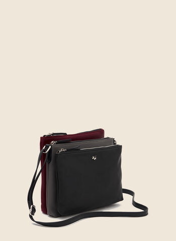 Triple Zip Crossbody Bag, Black,  crossbody, bag, triple, 2 tone, faux leather, fall winter 2020
