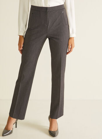 Signature Fit Straight Leg Pants, Grey,  pants, signature, straight, pockets, pleats, bi-stretch, spring summer 2020