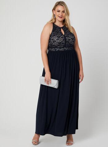 Glitter Lace Jersey Dress, Blue, hi-res,  glitter, lace, sequins, dress, keyhole, jersey, spring 2019