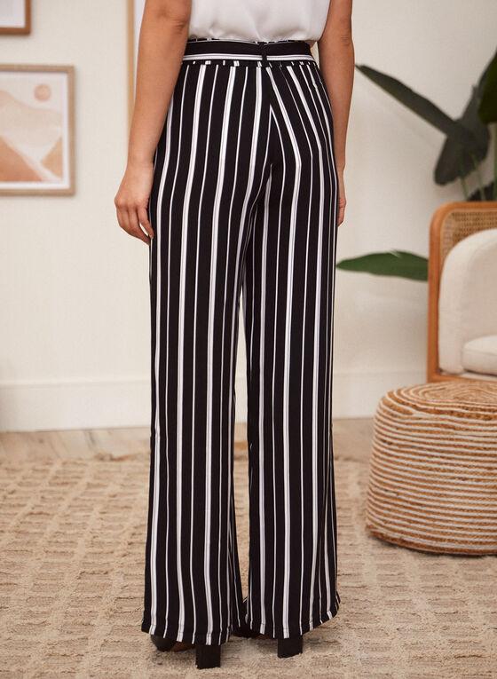 Charlie B - Stripe Print Pants, Black