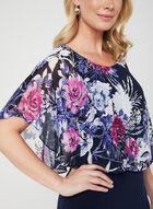 Floral Print Poncho Dress, Purple, hi-res