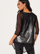 Metallic Print Mesh Overlay Top, Black, hi-res