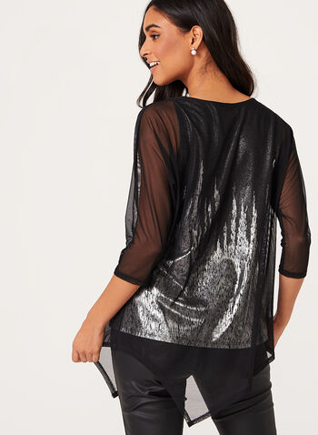 Metallic Print Mesh Overlay Top, , hi-res