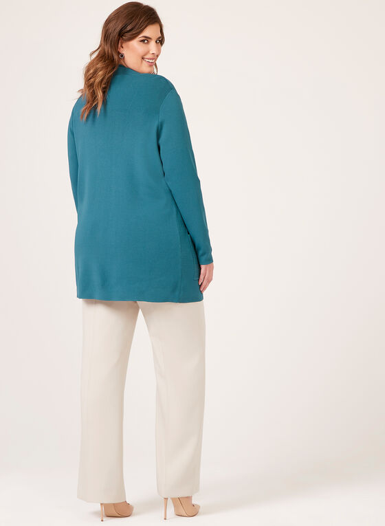 Long Open Front Knit Cardigan , Blue, hi-res