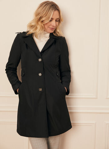 Novelti - Button Front Coat, Black,  spring summer 2020, novelti, fully lined, hood, longer length,