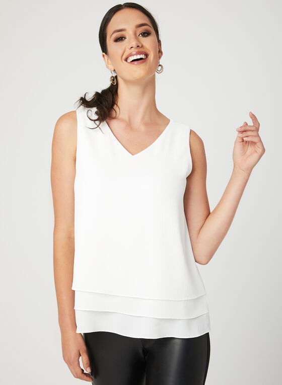 Sleeveless Bubble Crepe Blouse, Off White, hi-res