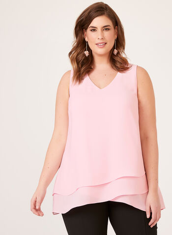 Sleeveless Solid Blouse, Pink, hi-res