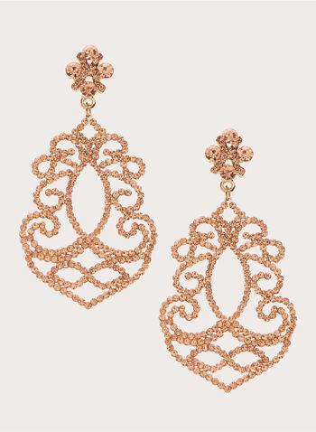 Crystal Chandelier Earrings, Orange, hi-res