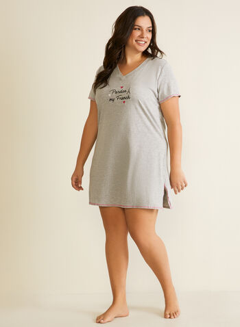 V-Neck Nightshirt , Grey,  fall winter 2020, sleepwear, nightshirt, nightgown, pyjamas, holiday, holidays 2020