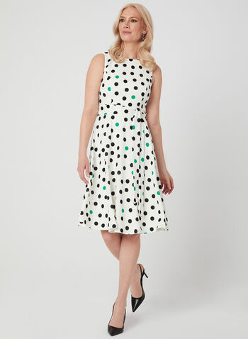 Jessica Howard - Dot Print Fit & Flare Dress, White, hi-res