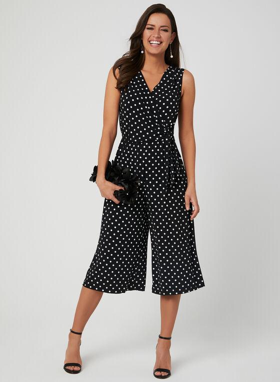 Polka Dot Print Jumpsuit, Black, hi-res