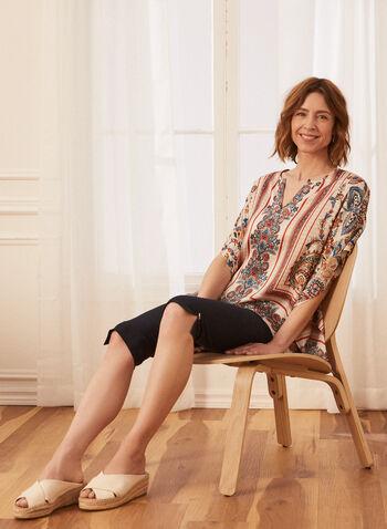 Paisley Print Tunic Blouse, White,  spring summer 2021, tunic, blouse, kimono style, elbow sleeves, paisley pattern, split collar