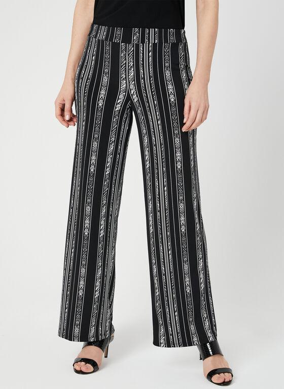Pantalon à jambe large et rayures irrégulières, Noir