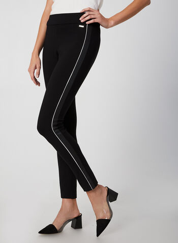 City Fit Straight Leg Pants , Black, hi-res,  city fit, straight legs, pull-on, mid-rise, leather, fall 2019, winter 2019