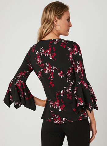 Floral Print ¾ Sleeve Top, Black, hi-res
