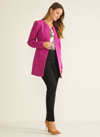 Single Button Redingote, Purple,  jacket, redingote, single button, pockets, long sleeves, fall winter 2020
