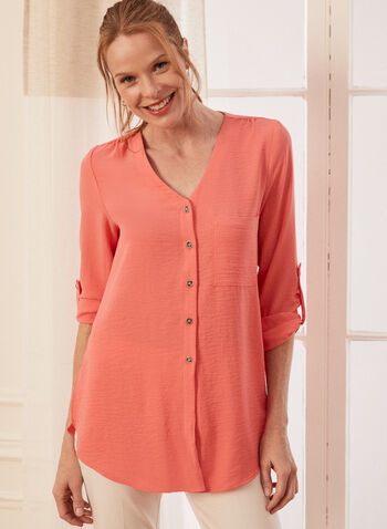 Knot Detail Button Front Blouse, Orange,  blouse, v-neck, button front, long sleeves, crepe, knot, fall winter 2020