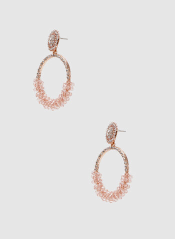 Boucles d'oreilles avec anneaux en strass et perles, Rose, hi-res