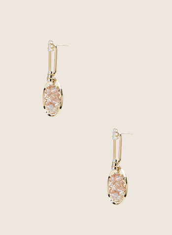 Stone Cluster Dangle Earrings, Gold,  earrings, dangle, stones, cluster, metallic, ring, oblong, crystals, spring summer 2020
