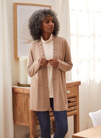 Cardigan en tricot fin à détails cloutés, Brun,  cardigan, haut, ouvert à l'avant, manches longues, détails cloutés, doux, tricot fin, longueur tunique, automne hiver 2021