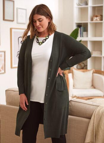 Knit Tunic Cardigan, Green,  cardigan, sweater, knit, long sleeves, pockets, button closure, fall winter 2021