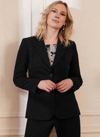 Two Button Notch Collar Jacket, Black,  jacket, blazer, two-button, 2 button, made in Canada, notch collar, notched, shoulder pads, long sleeves, button detail, pocket, lined, spring summer 2021, professional, work,