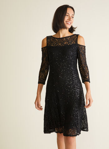 Marina - Cold Shoulder Sequin Lace Dress, Black,  cocktail dress, lace, sequins, fit & flare, 3/4 sleeves, illusion, cold shoulder, spring summer 2020