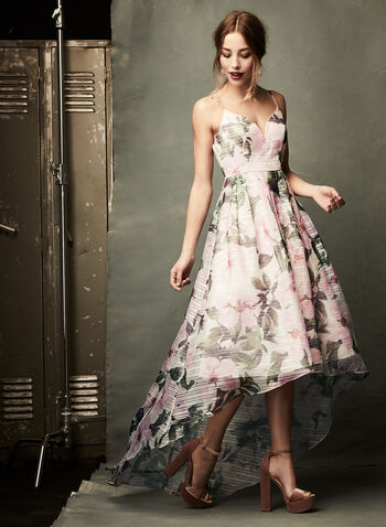 Floral Print High-Low Dress, Pink, hi-res