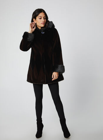 Nuage - Manteau en fausse fourrure, Noir,  manteau, capuchon, fausse fourrure, bouton, crochet, poches, automne hiver 2019