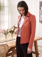 Faux Suede Open Front Blazer, Orange