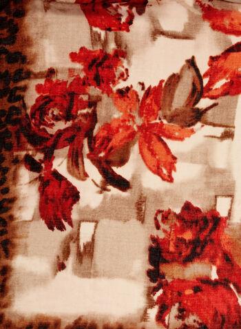 Foulard motif léopard et fleurs à franges, Orange, hi-res
