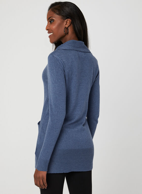 Cowl Neck Knit Tunic, Blue, hi-res