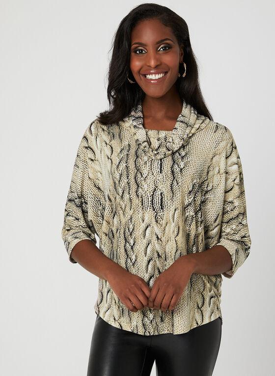 Haut à imprimé tricot, Brun, hi-res
