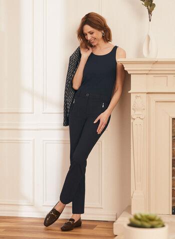 Pantalon coupe cité à jambe droite, Bleu,  pantalon, cité, jambe droite, poches, pinces, printemps été 2021