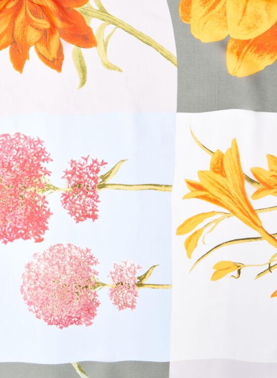 Oblong Mix Floral Print Scarf, Blue