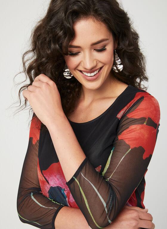 Haut tunique en mailles à motif floral , Noir, hi-res