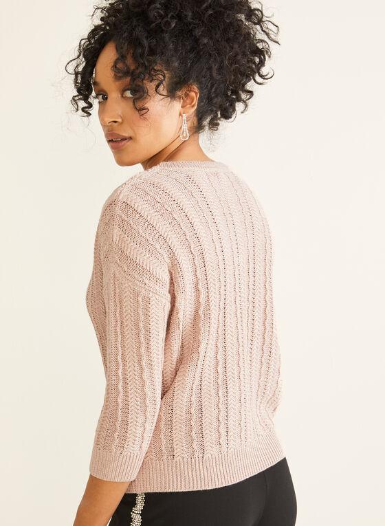 Pull en tricot et fibres métallisées, Rose