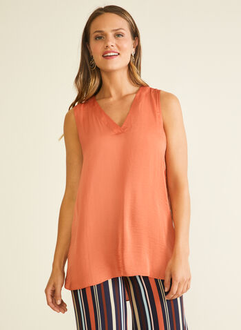 Sleeveless V-Neck Blouse, Orange,  blouse, sleeveless, v-neck, high low, spring summer 2020