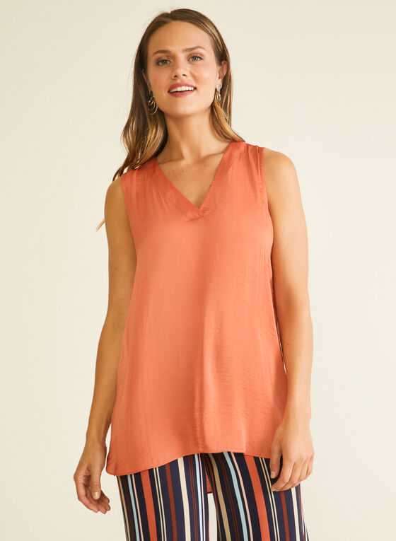 Sleeveless V-Neck Blouse, Orange