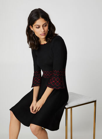 Bell Sleeve Knit Dress, Black, hi-res,  fit and flare, 3/4 bell sleeves, geometric patterns, knit, fall winter 2019
